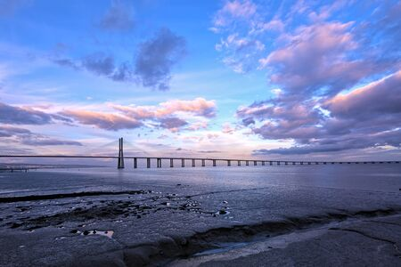 Vasco da Gama Bridge in Lisbon. The longest bridge in Europe. HDR - high dynamic range
