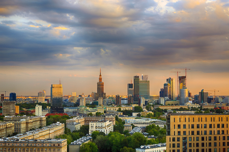 high dynamic range: Warsaw city center at sunset. HDR - high dynamic range