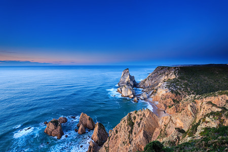 high dynamic range: The cliffs of Cabo da Roca, Portugal. The westernmost point of Europe. HDR - high dynamic range