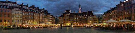 center city: Panorama of the Old Town Square in Warsaw at night