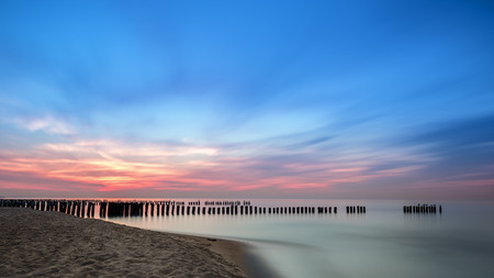 Baltic beach at sunset, long exposure