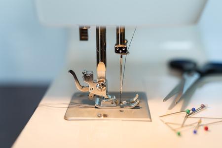field depth: Sewing machine close, small depth of field