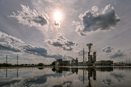 high dynamic range: Oil refinery in a sunny day. HDR - high dynamic range Stock Photo