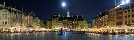 townhouses: Old Town in Warsaw at night panorama of the Old Town Square.