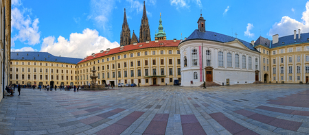 Prague, Czech Republic - October 7 2016. The second courtyard of Prague Castle, panorama. HDR - high dynamic range Editorial