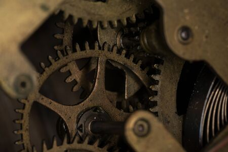 Gear modes in the machine close up, macro photography. Small depth of field Stock Photo