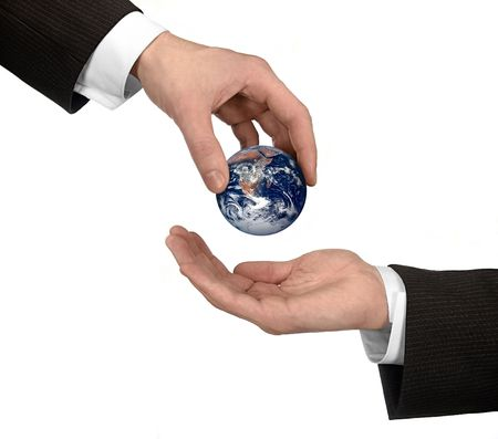 earthly: world in arm Stock Photo
