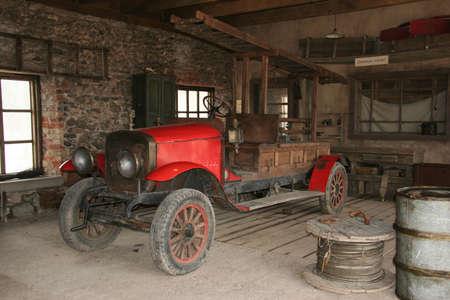 映画の町で消防署アンティーク消防車。