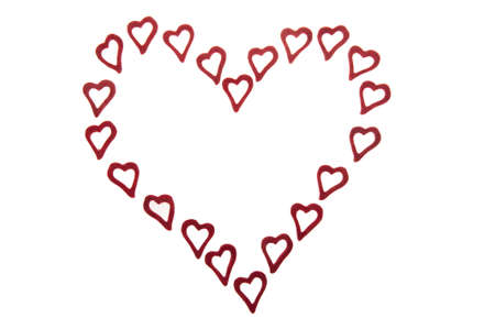 trifles: Many ornamental hearts on white background forming one heart.