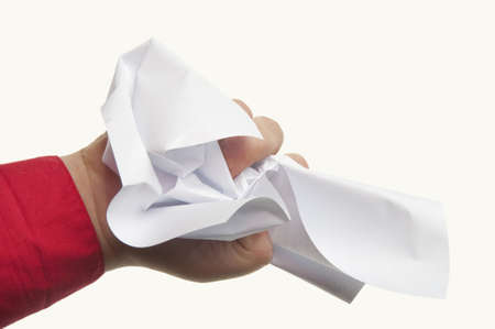 しわくちゃの紙の白い背景の上で表される怒り 写真素材