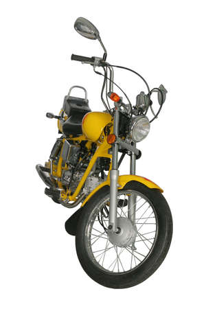 白い背景上に分離されて黄色のオートバイ 写真素材
