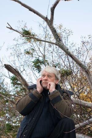 秋の日に、電話で話している森林で灰色の髪熟女忙しい人。 写真素材
