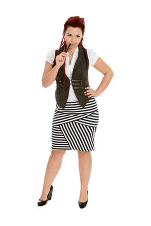 Modern beautiful accountant with pen in striped skirt isolated on white background  photo