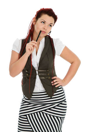 Modern beautiful secretary with pen wearing vest and striped skirt isolated on white background  photo