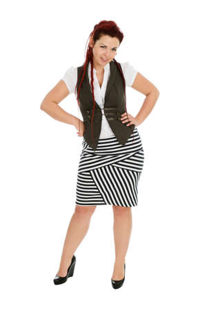 striped vest: Modern beautiful woman wearing striped skirt isolated on white background
