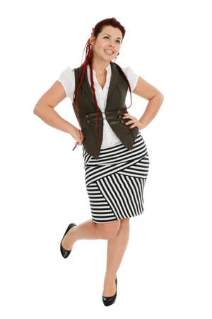 Beautiful young woman wearing vest and striped skirt isolated on white background  photo