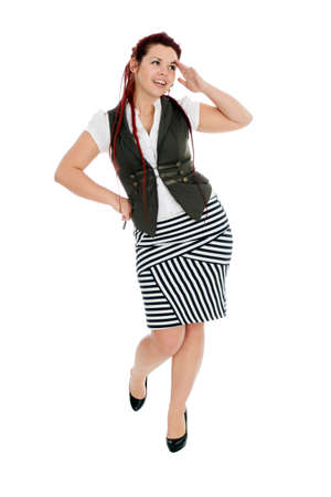 Modern beautiful woman wearing vest and striped skirt isolated on white background  photo