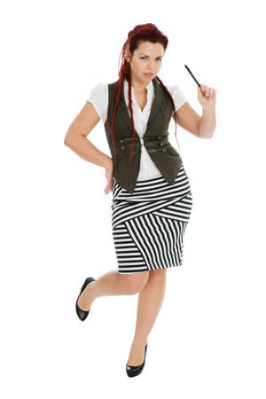 Modern beautiful secretary with pen in striped skirt isolated on white background  photo
