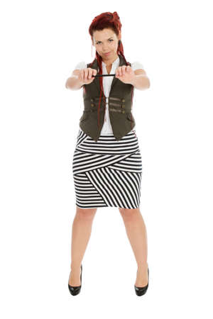 striped vest: Modern girl with pen in striped skirt isolated on white background  Stock Photo