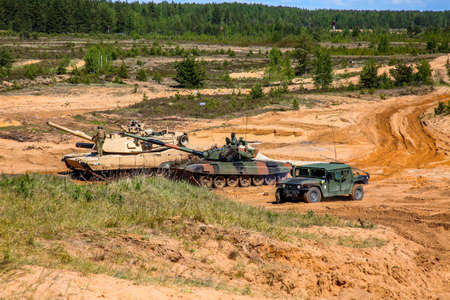 Tanks and armored vehicles in Latvia. International Military Training Saber Strike 2017, Adazi, Latvia, from 3 to 15 June 2017. US Army Europe-led annual International military exercise Saber Strike Field Training Exercise in Latvia. Sajtókép