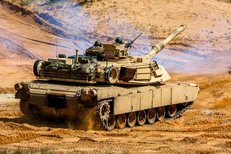 Tanks Abrams in Latvia. International Military Training Saber Strike 2017, Adazi, Latvia, from 3 to 15 June 2017. US Army Europe-led annual International military exercise Saber Strike Field Training Exercise in Latvia. Editorial