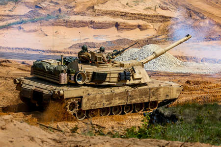 Tanks Abrams in Latvia. International Military Training Saber Strike 2017, Adazi, Latvia, from 3 to 15 June 2017. US Army Europe-led annual International military exercise Saber Strike Field Training Exercise in Latvia.
