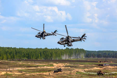 UH-60 Blackhawk and Apache. International Military Training Stock fotó - 120301430
