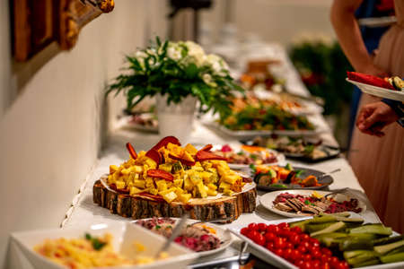 Cheese, vegetables, meat and other snacks on the festive table in the restaurant. Cheese snacks, vegetables and other appetizers on holiday table. Catering wedding table. 写真素材