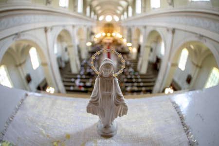 Statue of Virgin Mary. Riga St. Albert Roman Catholic congregation, Roman Catholic Church in Riga, Latvia. Interior of the Roman Catholic Church.
