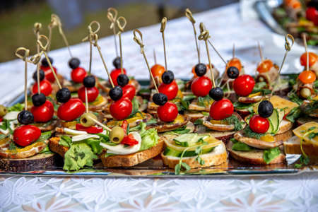 Beautifully decorated catering banquet table for wedding. Catering service buffet plate with canapes and appetizing sandwiches. Buffet catering table food. Sandwiches with meat, tomatoes, cheese, oliv 写真素材