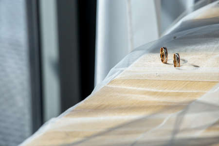 Two wedding rings on wedding veil. Gold wedding rings on the background of the white bridal veil. Rings on bridal wedding dress. 写真素材