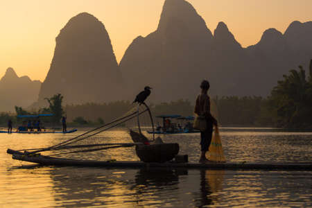 China - East Asia, Guilin, Asia, Fishing, Senior Adult Editorial