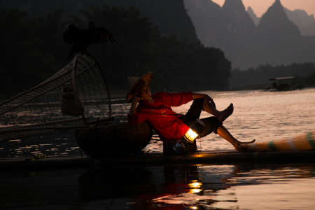 China - East Asia, Guilin, Asia, Fishing, Senior Adult Stock Photo