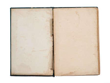 title page: P�gina de t�tulo en blanco del libro abierto de edad, da�ado (aislado en blanco)