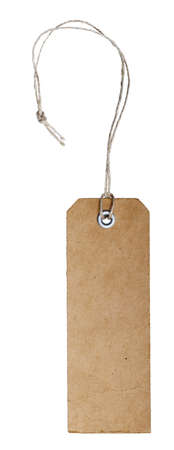 blank vintage paper tag with riveted hole and natural fiber string photo