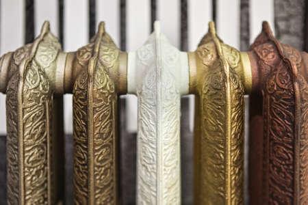 Cast iron radiator  vintage multicolored close- up