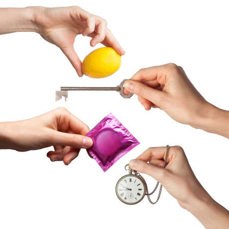 horologe: hands with various objects on a white background