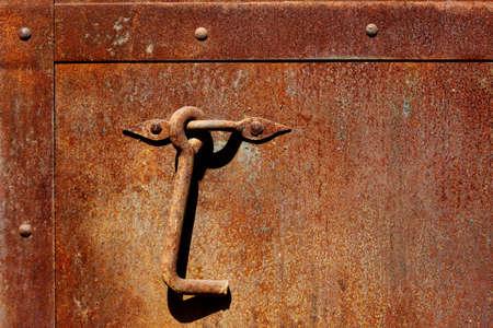 door handle: Rusty Metal Door gate Handle close up Stock Photo