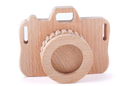 wooden toy: Vintage style wooden toy camera white background  isolated