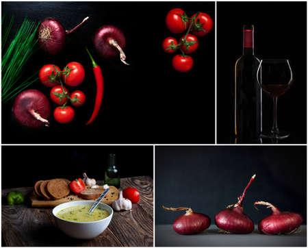 aliments: Ensemble. Légumes frais, du vin et d'autres denrées alimentaires. fond sombre