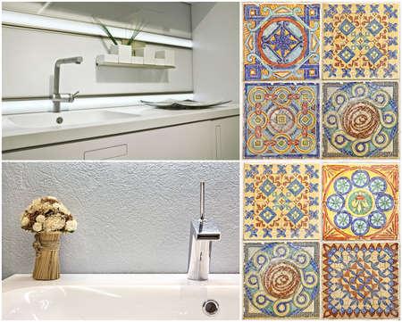 Set Moderner Waschtischstil Im Bad Und In Der Küche Sowie - Portugiesische fliesen küche