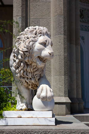 Lion marble sculpture in Vorontsov Palace, Crimea, Russia