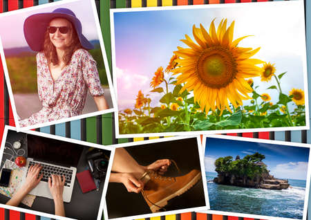 Collage with girl and travel theme on a multicolored background