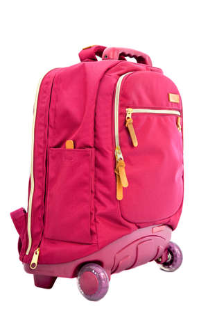 childrens school trolley bag red color on a white background