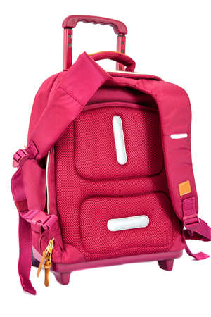 childrens school trolley bag red color. isolated