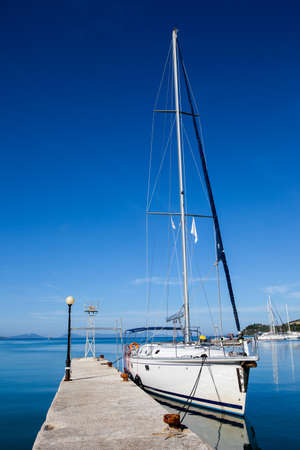 docked: yacht docked In dock. clear day Stock Photo