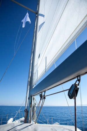 spinnaker: Image of sail yacht mast close-up Stock Photo