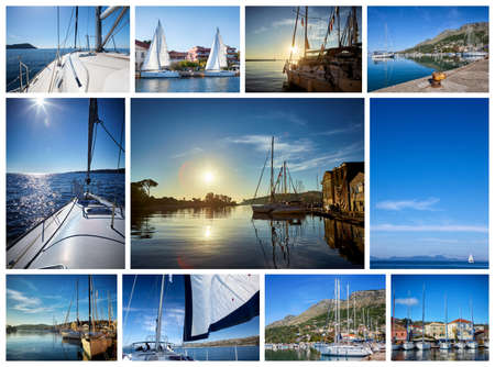 dinghies: Yacht collage. Living on the sea.Yachting concept