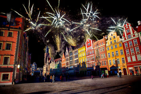 Fireworks over the square of the European city.Wroclaw, Poland