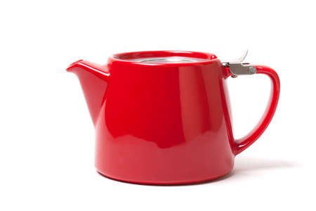 Modern Red teapot isolated on white background